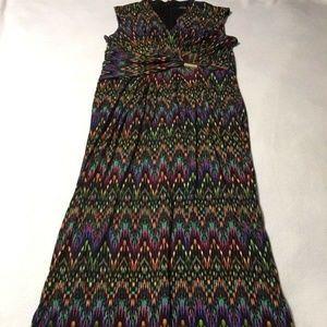 Ellen Tracy Rainbow Chevron Faux Wrap Maxi Dress